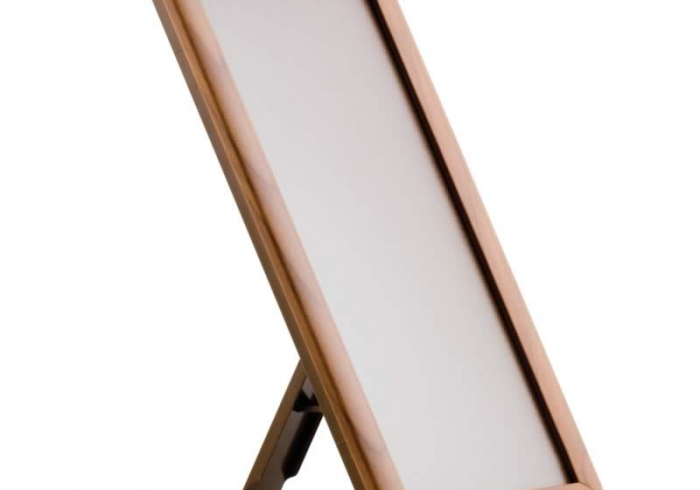 Snapframe with stand, 25 mm profile. Wood look
