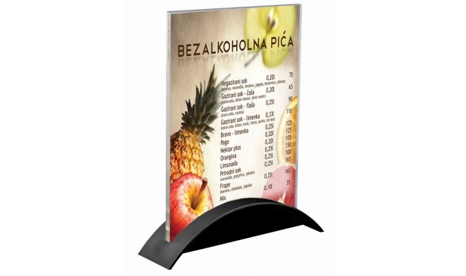 A5 size brochure holder with clear acrylic top and black plastic base.