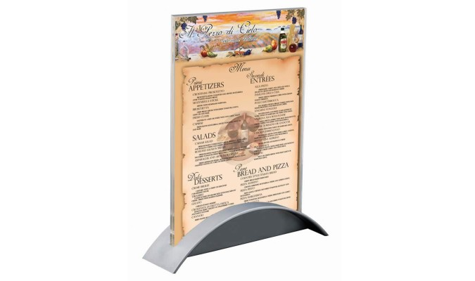 A5 size brochure holder with clear acrylic plastic top and plastic silver base color.