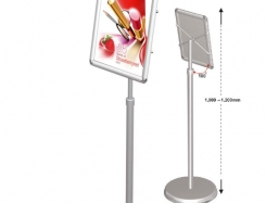 Telescopic menu board with 25 mm round corners, adjustable from 1000 mm till 1550 mm, portrait.