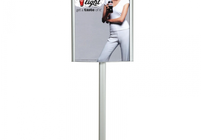 Double side convex display not illuminated mounted on pole