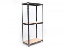 Black metal painted stock regal 205 x 100 x 50 with 3 MDF shelves.