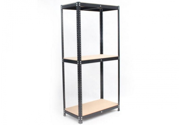 Black metal painted stock regal 205 x 150 x 50 with 3 MDF shelves.
