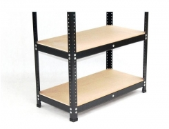Black metal painted stock regal 205 x 100 x 50 with 4 MDF shelves.