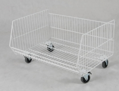 Exposition clothes basket made by wire on wheels  70 cm x 60 cm x 40 cm