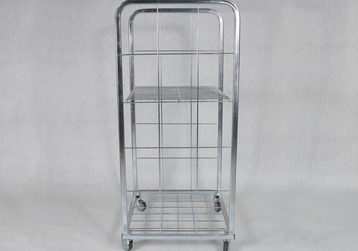 Zincked Stock Trolley 160 cm x 80 cm x 80 cm, 2 walls and shelves