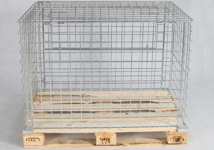 Zincked wire cage for Euro pallets with opening two sides and cover 120 cm x 80 cm x 80 cm