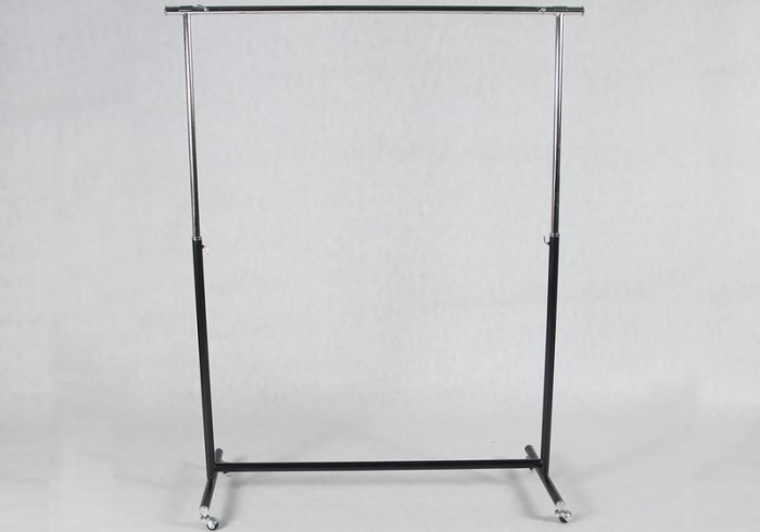 Stender with height regulation,  210 cm x 185 cm x 50 cm Chrome, Black.