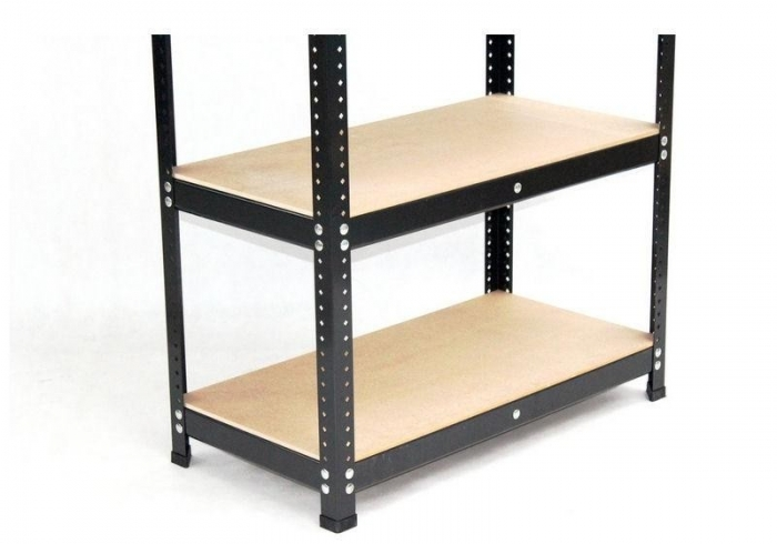 Black metal painted stock regal 205 x 150 x 50 with 4 MDF shelves.
